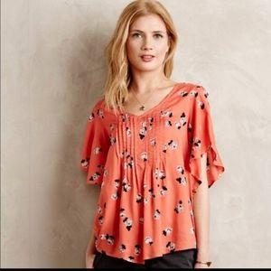 Maeve | Maya Floral Flutter Sleeve Blouse orange